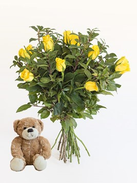 Bouquets: Yellow Roses with a Small Teddy