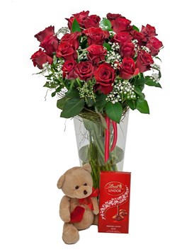 Arrangements: Red Roses, Teddy and Chocolate