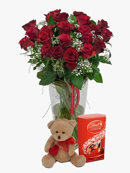 Arrangements:  Red Rose Vase & Million Stars with Teddy & Lindt Lindor
