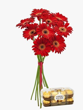 Bouquets: Red Gerberas with Ferrero Rocher