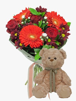 Bouquets: Ruby Red Love with Teddy