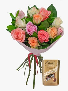 Bouquets: Mixed Pastels with 50g Lindt Lindor