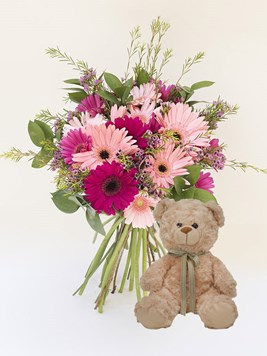 Bouquets: Mixed Gerbera Bunch with Teddy